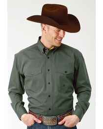 Roper Men's Solid Green Long Sleeve Button Down Shirt , , hi-res