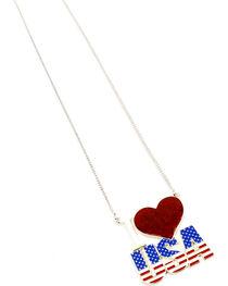 Ethel & Myrtle I Love USA Heart Necklace , , hi-res