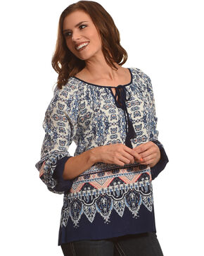 Derek Heart Women's Blue Print Tassel Top, Blue, hi-res