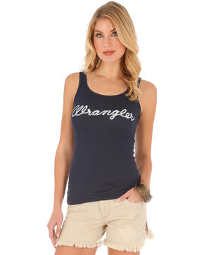 Wrangler Women's Logo Rib Tank Top , Navy, hi-res