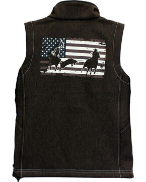 Cowboy Hardware Boys' Team Roper Vest, Brown, hi-res