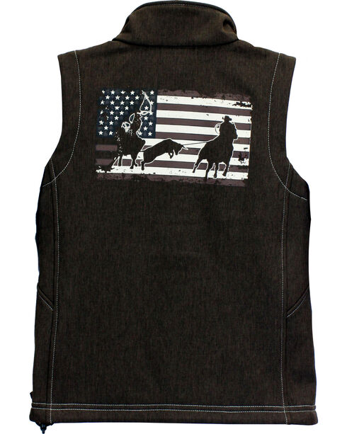 Cowboy Hardware Boys' Team Roper Vest, Brown, hi-res