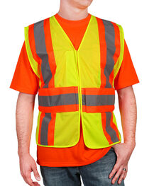 American Worker Men's High Visibility Safety Vest, Yellow, hi-res