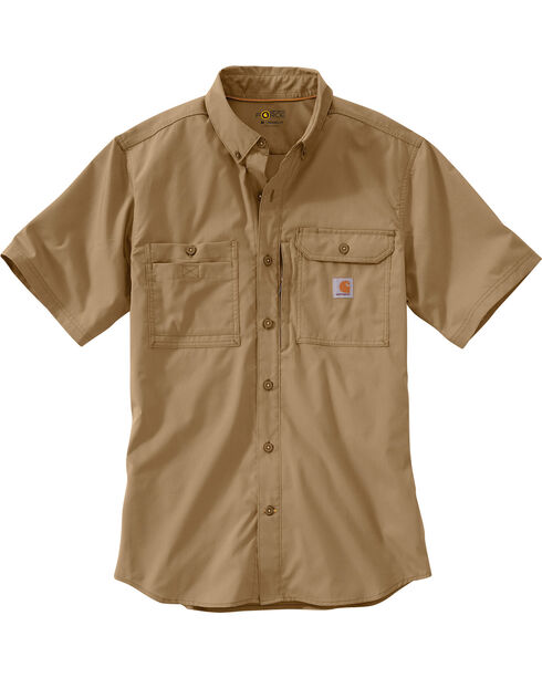 Carhartt Men's Khaki Force Ridgefield Short Sleeve Solid Shirt - Big and Tall, Khaki, hi-res