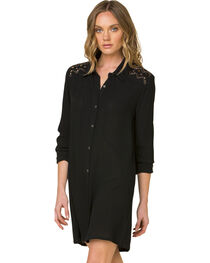 Miss Me Women's Black Forbidden Path Shirt Dress , , hi-res
