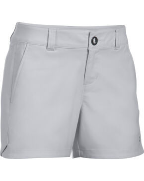 "Under Armour Women's Light Grey Fish Hunter 4"" Inseam Shorts, Grey, hi-res"