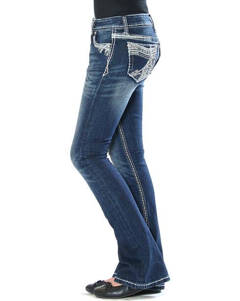 Grace in LA (7-16) Girls' Indigo Heavy Stitch Pocket Jeans - Boot Cut, Indigo, hi-res