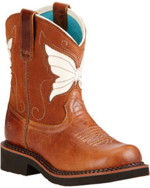 Ariat Girls' Fatbaby Wings Western Boots, Tan, hi-res