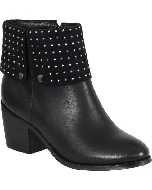 Milwaukee Women's Black Studded Boots - Round Toe , Black, hi-res