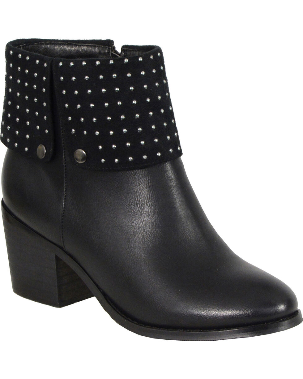Milwaukee Women's Black Studded Boots - Round Toe , Black, hi-res