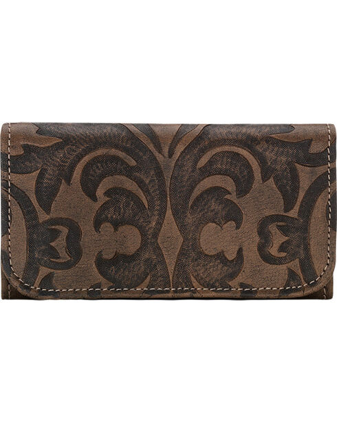 American West Charcoal Brown Baroque Tri-Fold Wallet , Brown, hi-res
