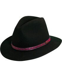 Scala Men's Black Wool Felt with Leather Trim Safari Hat, , hi-res