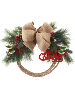 BB Ranch Pine Rope Christmas Wreath, No Color, hi-res