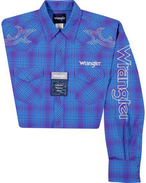 Wrangler Men's Logo Plaid Long Sleeve Shirt, , hi-res