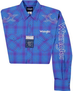 Wrangler Men's Logo Plaid Long Sleeve Shirt, Purple, hi-res