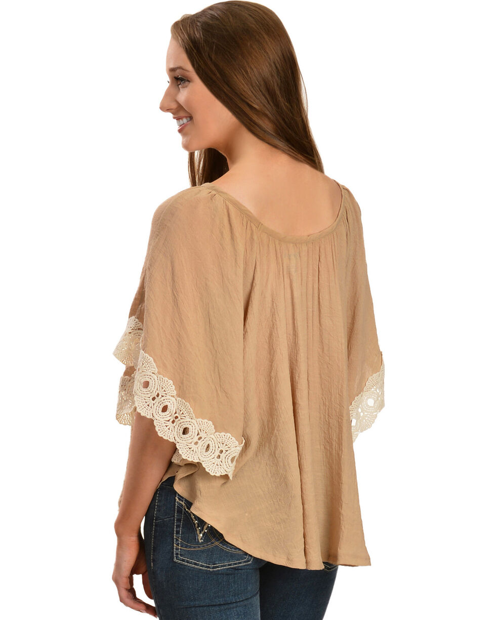 Wrangler Women's Crochet Lace Trim Tunic, Wheat, hi-res
