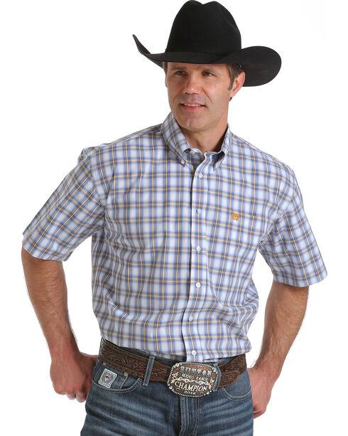 Cinch Men's Plaid Print Button Down Short Sleeve Shirt, White, hi-res