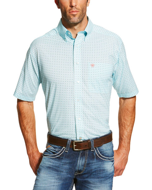 Ariat Men's Printed Short Sleeve Shirt, Medium Blue, hi-res