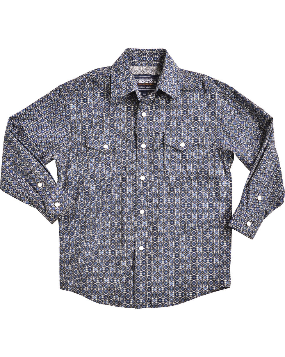 Rough Stock by Panhandle Boys' Navy Barlott Vintage Shirt , Navy, hi-res