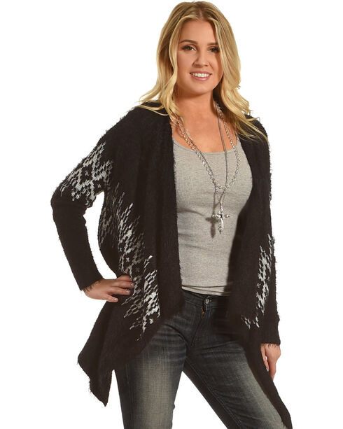 Panhandle Women's Black Aztec Angora Eyelash Cardigan, Black, hi-res