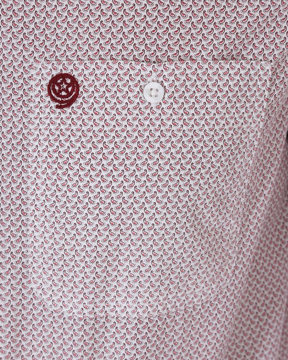 Wrangler Men's White George Strait Small Print Shirt , White, hi-res