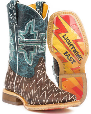 Tin Haul Boys' Thunderbolt Cowboy Boots - Square Toe - Sz. 2-3, Brown, hi-res