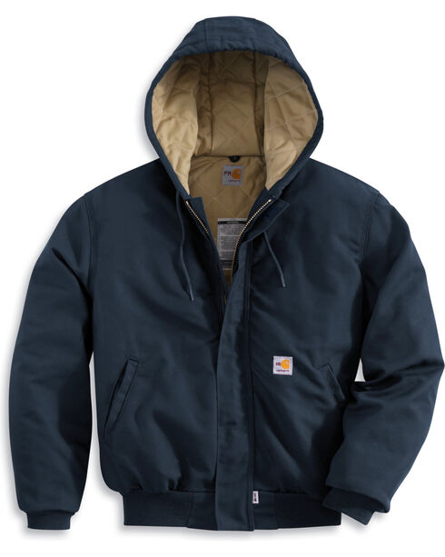 Carhartt Flame-Resistant Midweight Active Hooded Jacket - Big & Tall, Navy, hi-res