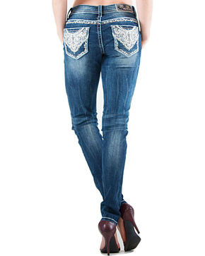 Grace in LA Lattice Scroll Pocket Skinny Jeans , Indigo, hi-res