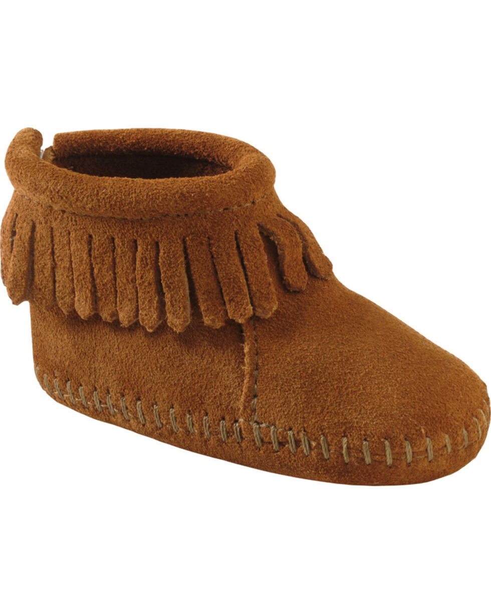 Minnetonka Infant's Back Flap Booties, Brown, hi-res