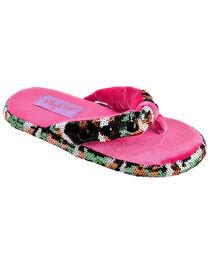 Blazin Roxx Youth Girls' Sequin Camo Flip Flop Slippers, , hi-res