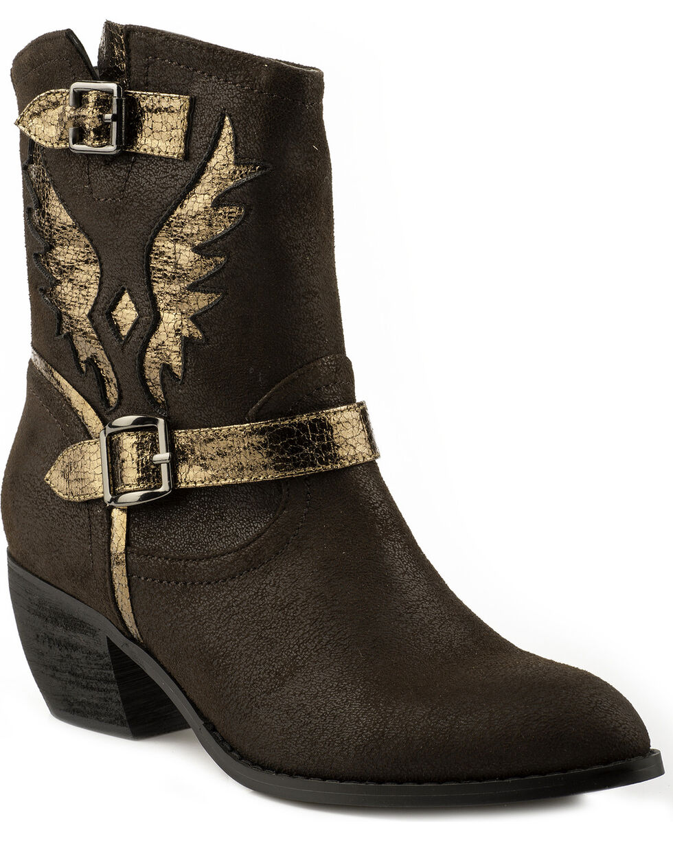 Roper Women's Metallic Eagle Cutout Fashion Boots, Dark Brown, hi-res