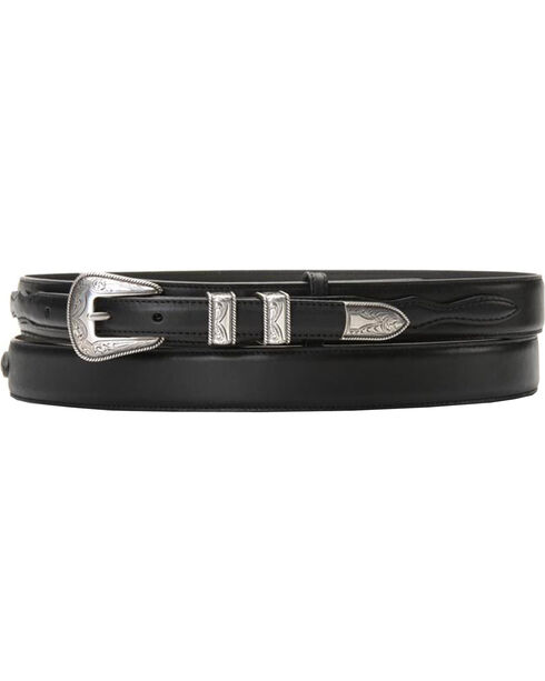 Leather Billet Overlay Ranger Belt, Black, hi-res