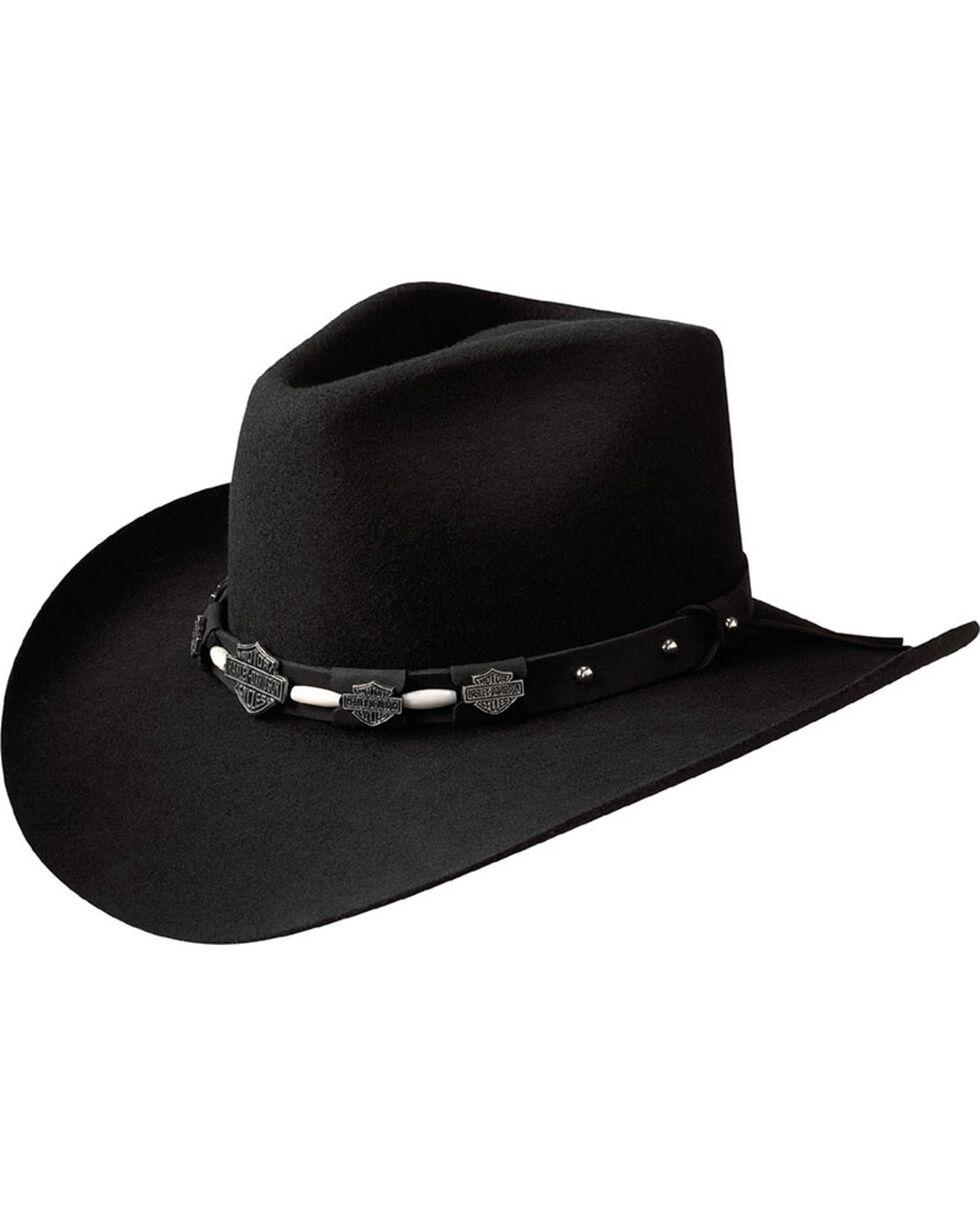 Harley-Davidson Men's Wool Pinch Crease Hat, Black, hi-res