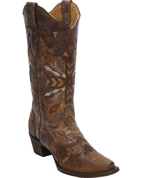 Corral Women's Tribal Embroidered Western Boots, Cognac, hi-res