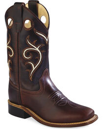 Old West Youth Boys' Brown Swirl Western Cowboy Boots - Square Toe, Brown, hi-res