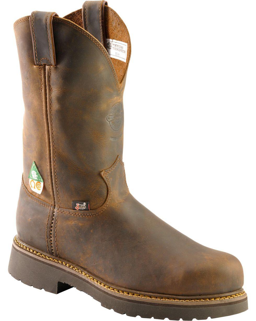 "Justin Men's Rugged 11"" Steel Toe Work Boots, Tan, hi-res"