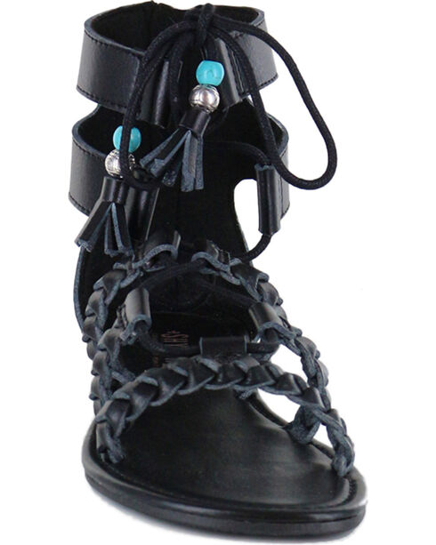 Shyanne® Women's Tassel Lace-Up Sandals, Black, hi-res
