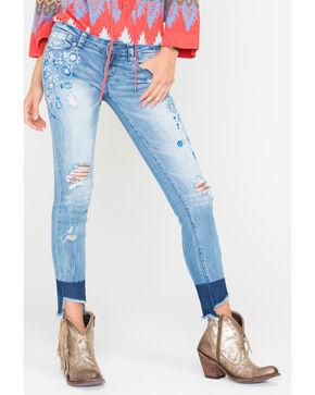 Grace in LA Women's Indigo Angled Hem Jeans - Skinny , Indigo, hi-res