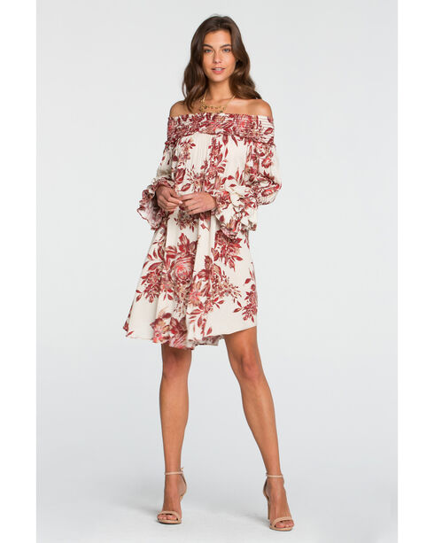Miss Me Women's Autumn Kisses Off The Shoulder Floral Dress, Cream, hi-res