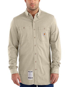 Carhartt Men's Sand Flame-Resistant Force Cotton Hybrid Shirt - Big & Tall, Sand, hi-res