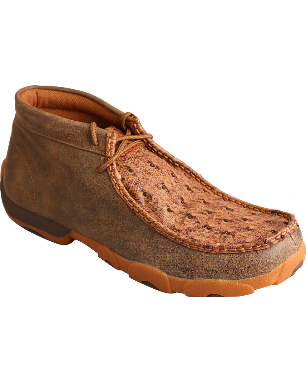 Twisted X Men's Full Quill Ostrich Lace Up Driving Moc Casual Shoes, Brown, hi-res