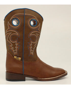 Double Barrel Boys' Dylan Cowboy Boots - Square Toe, Rust, hi-res