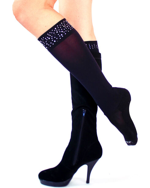 Darby's Women's Roxy Rhinestone Cuff Boot Tights, , hi-res