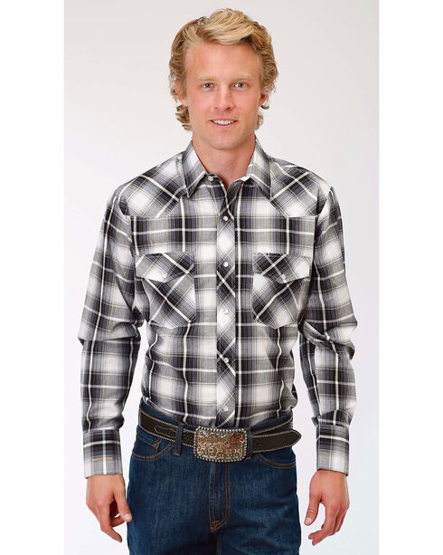 Roper Men's Black/White/Gold Plaid Long Sleeve Snap Shirt, Black, hi-res
