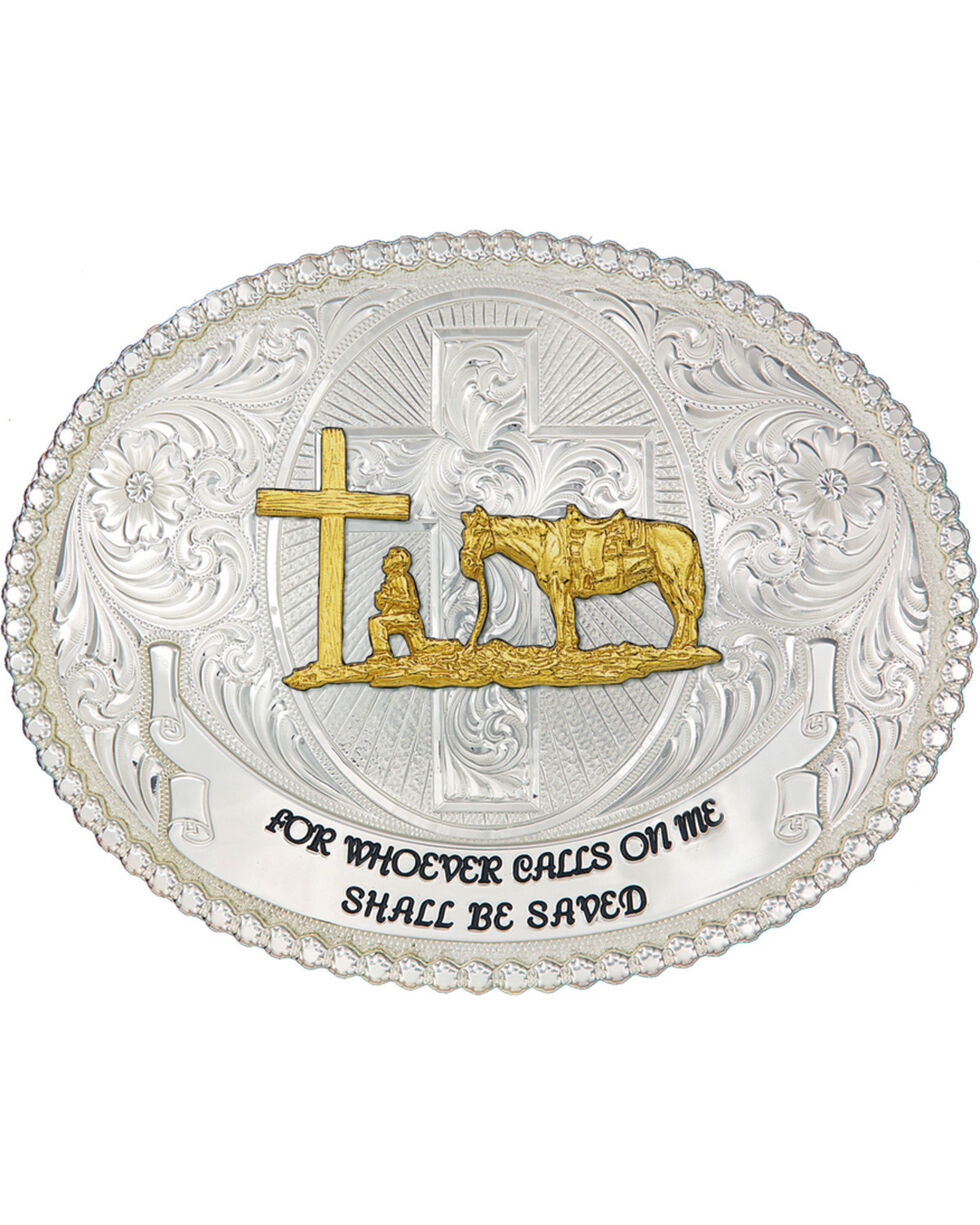 Montana Silversmiths Faith and Wisdom Western Belt Buckle, Silver, hi-res