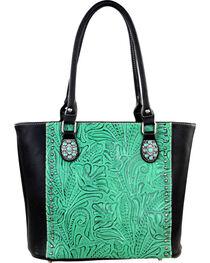 Montana West Trinity Ranch Black/Turquoise Tooled Design Concealed Handgun Collection Handbag, , hi-res
