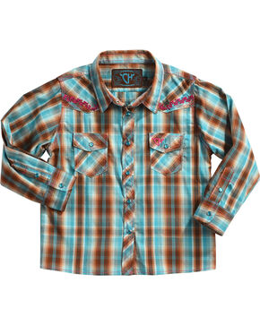 Cowgirl Hardware Toddler Girls' Vine Trim Plaid Long Sleeve Shirt, Turquoise, hi-res