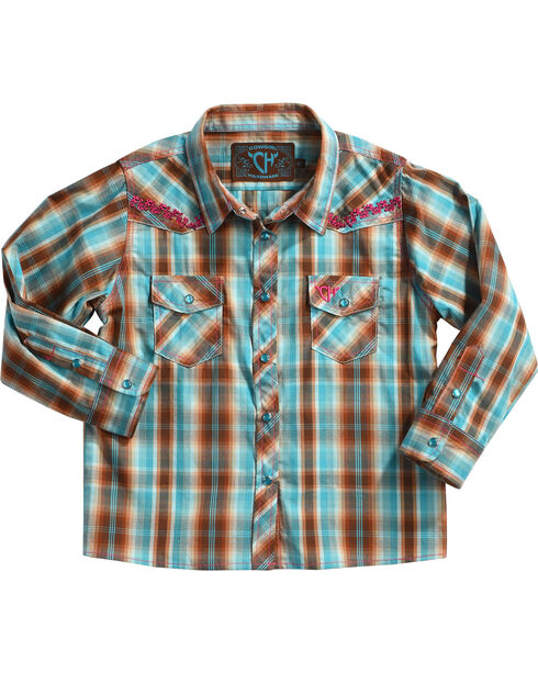 Cowgirl Hardware Toddler Girls' Vine Trim Plaid Long Sleeve Shirt, Turquoise, hi-res