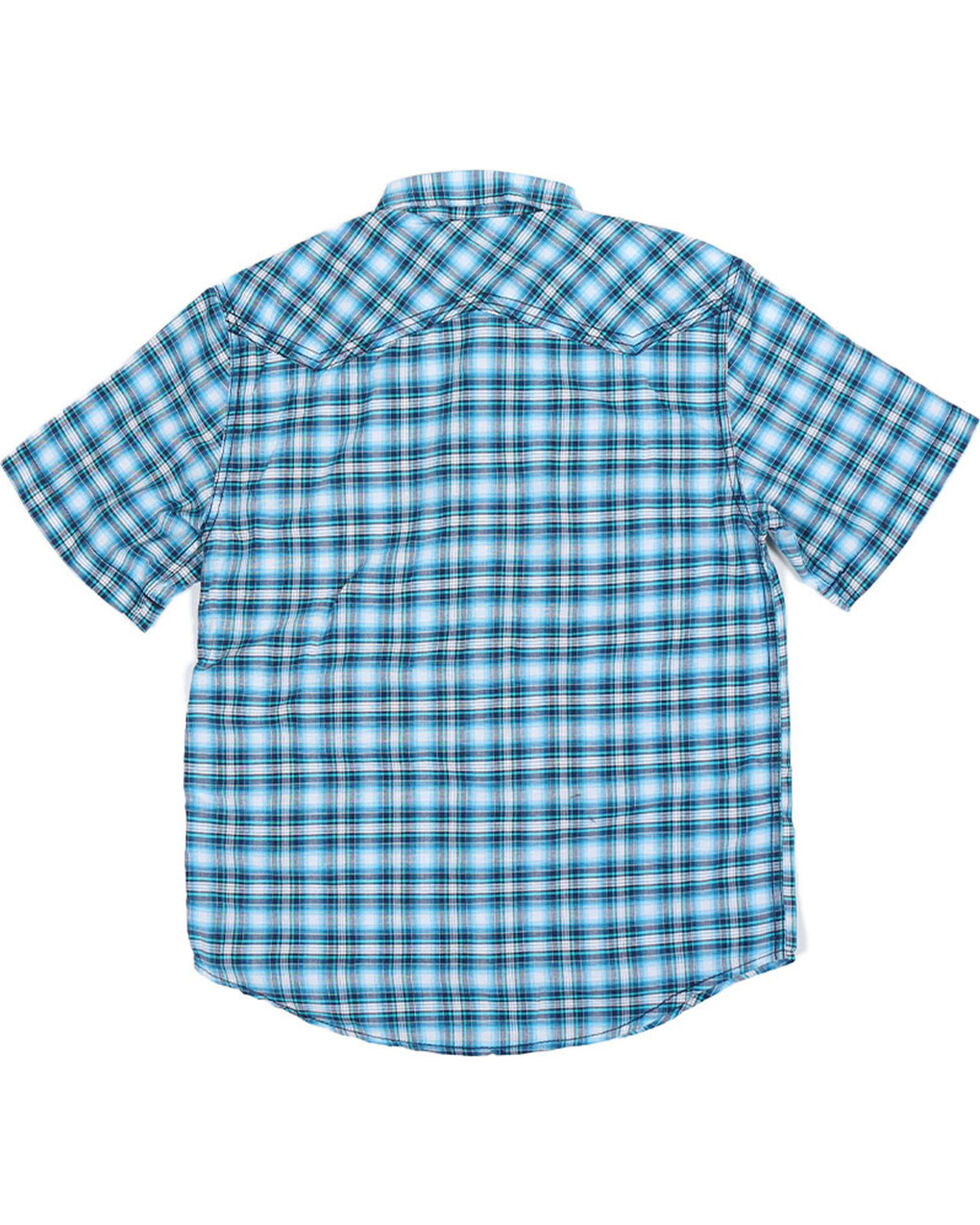 Cody James® Boys' Short Sleeve Plaid Sawtooth Western Shirt, , hi-res