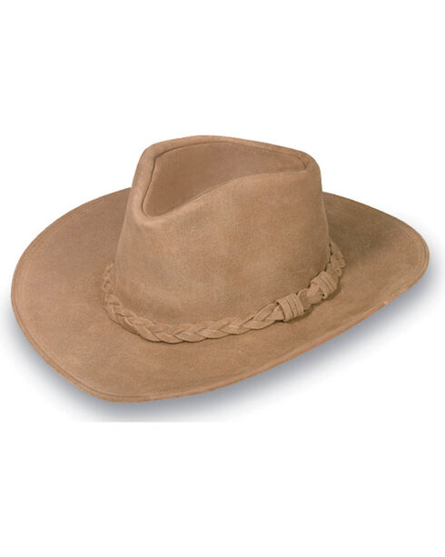 Minnetonka Leather Outback Hat, Tan, hi-res